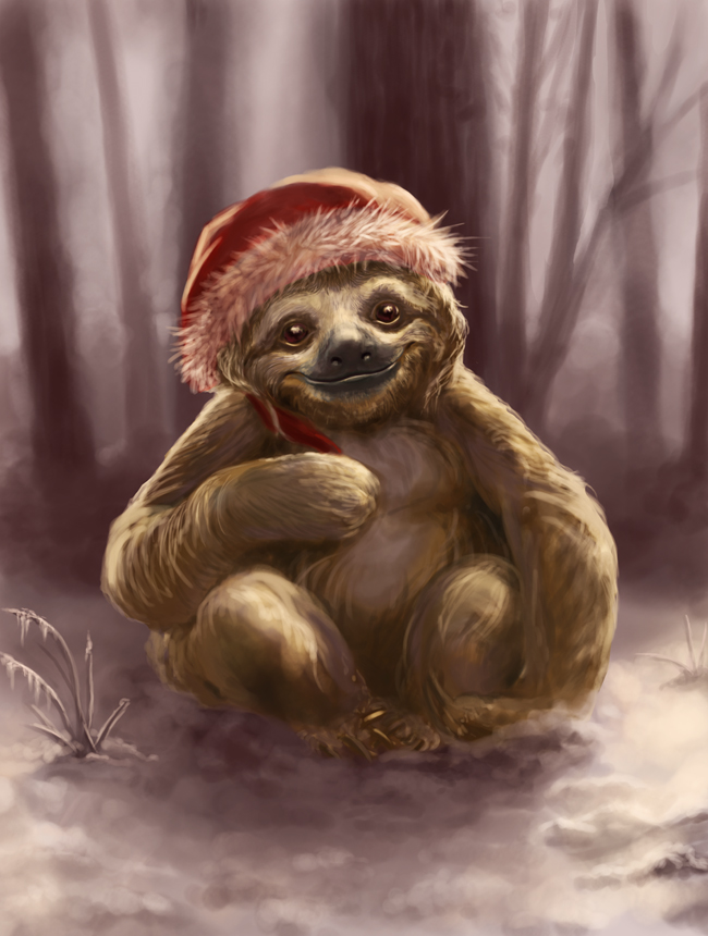 Christmas-Sloth-valerie-black