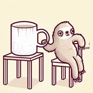 sloth and coffee